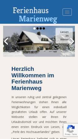 Vorschau der mobilen Webseite www.ferienhaus-marienweg.de, Ferienhaus Liesen [Liesen, Frank]