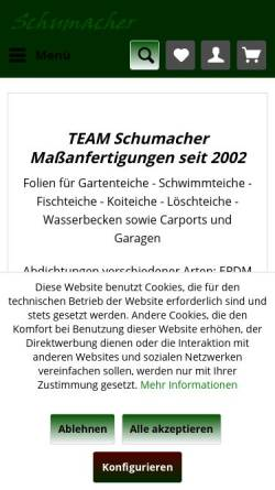 Vorschau der mobilen Webseite www.teichfolie-schumacher.de, Technische Folien Schumacher