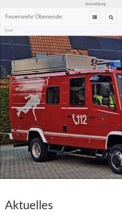 Vorschau der mobilen Webseite www.feuerwehr-obenende.de, Freiwillige Feuerwehr Papenburg-Untenende