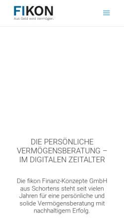 Vorschau der mobilen Webseite www.fikon.de, fikon Finanz-Konzepte GmbH