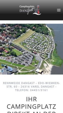 Vorschau der mobilen Webseite www.rennweide.de, Campingplatz Rennweide Dangast
