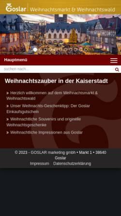 Vorschau der mobilen Webseite www.weihnachtswald.de, Goslar Weihnachtsmarkt und Weihnachtswald
