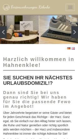 Vorschau der mobilen Webseite ferienwohnungen-koehnke.de, Ferienwohnungen Köhnke - Inh. André Köhnke