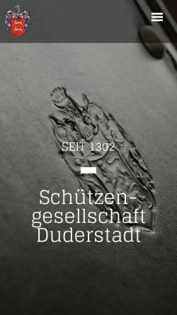 Vorschau der mobilen Webseite www.schuetzengesellschaftduderstadt.de, Schützengesellschaft Duderstadt seit 1302