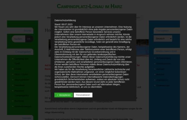 Vorschau von campingplatz-lonau.de, Campingplatz und Waldschwimmbad Lonau - Inh. Martina Poser