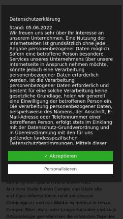 Vorschau der mobilen Webseite campingplatz-lonau.de, Campingplatz und Waldschwimmbad Lonau - Inh. Martina Poser