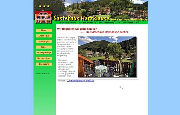 Vorschau von www.gaestehaus-harzklause.de, Gästehaus Harzklause - Uwe Sonnemann