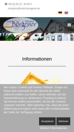 Vorschau der mobilen Webseite www.hotel-boergener.de, Hotel Börgener - Inh. Eva Tolle e.K.