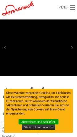 Vorschau der mobilen Webseite www.sonneneck-pension.de, Haus Sonneneck Pension-Café - Marcel Dawal