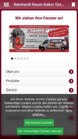 Vorschau der mobilen Webseite reinhardt-osterode.de, Reinhardt Raum-Dekor