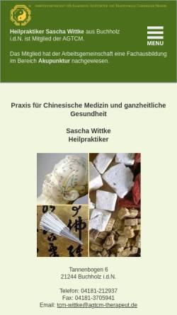 Vorschau der mobilen Webseite www.tcm-wittke.agtcm-therapeut.de, Naturheilpraxis für chinesische Medizin und ganzheitliche Gesundheit - Inh. Sascha Wittke Heilpraktiker
