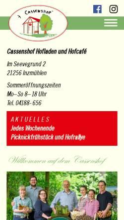 Vorschau der mobilen Webseite www.cassenshofladen.de, Cassens Hof, Familie Voß