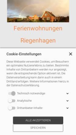 Vorschau der mobilen Webseite www.riegenhagen.de, Ferienwohnungen Riegenhagen auf Borkum