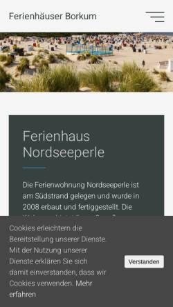 Vorschau der mobilen Webseite www.nordseeperle-borkum.de, Nordseeperle Borkum