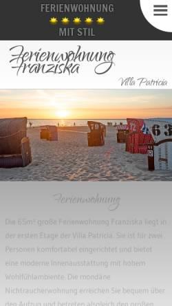 Vorschau der mobilen Webseite www.fewo-borkum-franziska.de, Ferienwohnung Franziska
