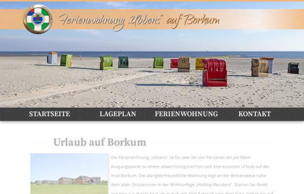 Vorschau von www.ubbens-borkum.de, Ferienwohnung Ubbens