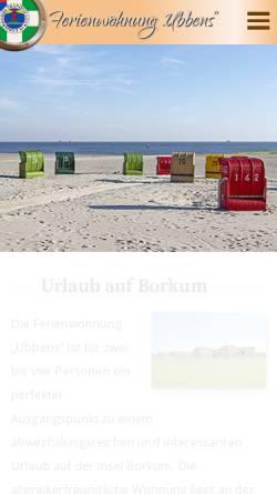 Vorschau der mobilen Webseite www.ubbens-borkum.de, Ferienwohnung Ubbens