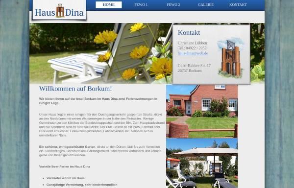 Vorschau von hausdina-borkum.de, Haus Dina