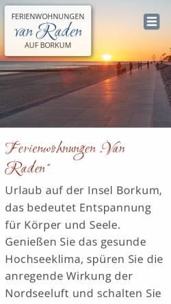 Vorschau der mobilen Webseite www.van-raden.de, Ferienwohnungen van Raden