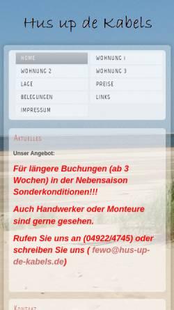 Vorschau der mobilen Webseite www.hus-up-de-kabels.de, Hus up de Kabels