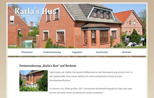 Vorschau von www.karlas-hus.de, Ferienwohnung Karla's Hus