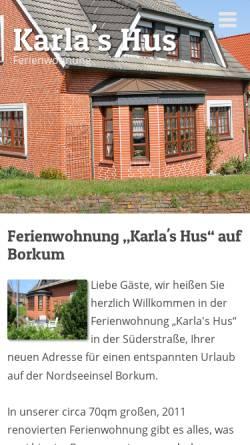Vorschau der mobilen Webseite www.karlas-hus.de, Ferienwohnung Karla's Hus