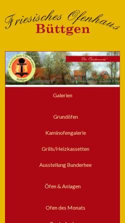 Vorschau der mobilen Webseite www.buettgen-ofenbau.de, Friesisches Ofenhaus Büttgen