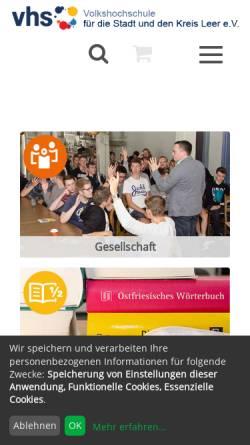 Vorschau der mobilen Webseite www.vhs-leer.de, Volkshochschule Leer