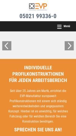 Vorschau der mobilen Webseite www.evp-fahrzeugeinrichtung.de, EVP GmbH