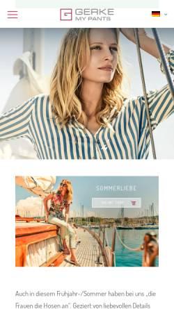 Vorschau der mobilen Webseite www.gerke-mypants.de, Gerke AG