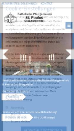 Vorschau der mobilen Webseite www.st-paulus-burgwedel.de, Katholische Pfarrgemeinde St.Paulus