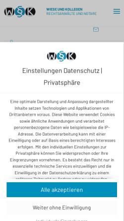 Vorschau der mobilen Webseite www.wieseundkollegen.de, Wiese und Kollegen Rechtsanwälte und Notare