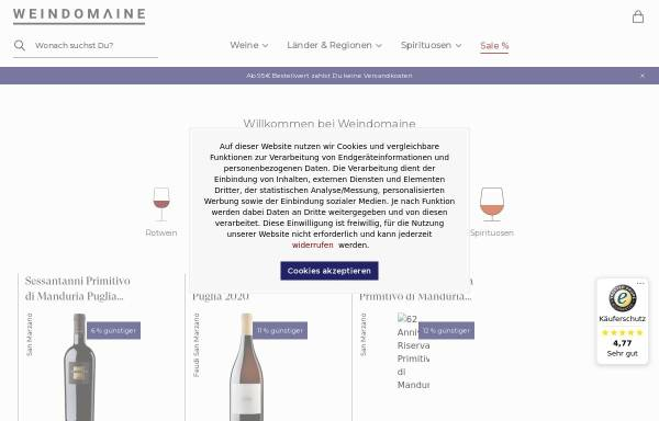 Vorschau von www.weindomaine.de, Wein Domaine - Inh. Gerd Vespermann