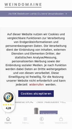 Vorschau der mobilen Webseite www.weindomaine.de, Wein Domaine - Inh. Gerd Vespermann