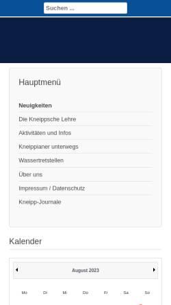 Vorschau der mobilen Webseite www.kneippverein-wennigsen.de, Kneipp-Verein Wennigsen/Gehrden e.V.