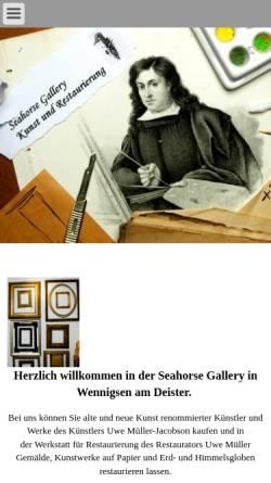 Vorschau der mobilen Webseite www.kunstundrestaurierung.de, Seahorse Gallery - Uwe Müller und Dagmar Jung