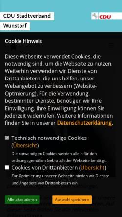 Vorschau der mobilen Webseite www.cdu-sv-wunstorf.de, CDU Stadtverband Wunstorf