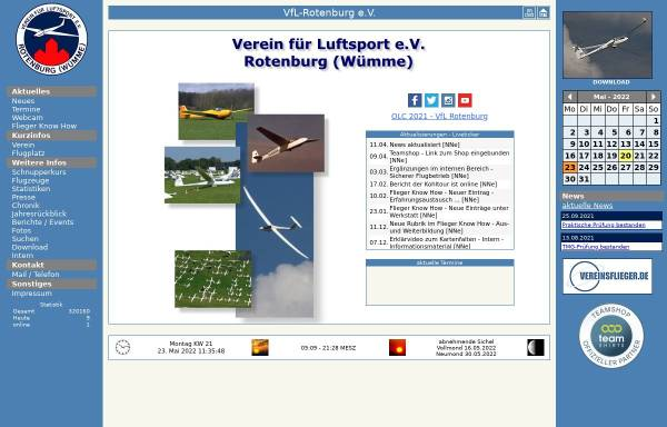 Vorschau von www.vfl-rotenburg.de, Verein für Luftsport e. V.