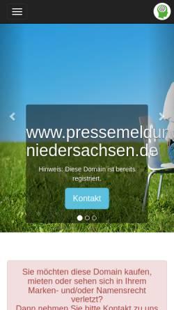 Vorschau der mobilen Webseite www.pressemeldung-niedersachsen.de, Pressemeldung-Niedersachsen.de