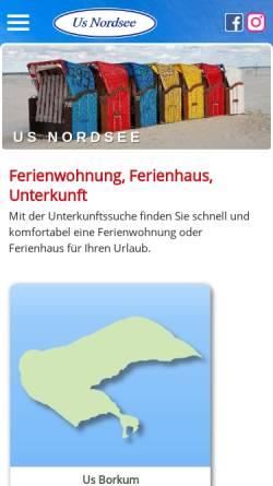 Vorschau der mobilen Webseite www.us-nordsee.de, Us Nordsee Immobilien GmbH & Co. KG