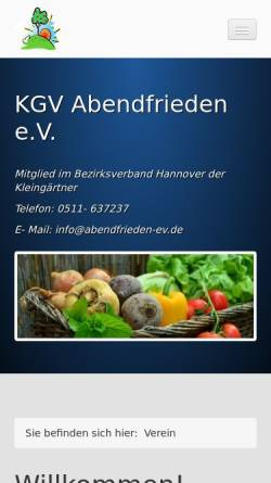 Vorschau der mobilen Webseite abendfrieden.bplaced.net, Kleingärtnerverein Abendfrieden e.V.