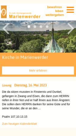 Vorschau der mobilen Webseite www.marienwerder.de, Kirche in Marienwerder