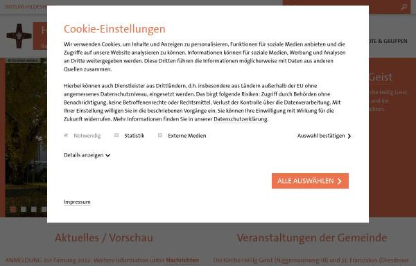 Vorschau von www.heilig-geist-hannover.de, Katholische Pfarrgemeinde Heilig Geist Hannover