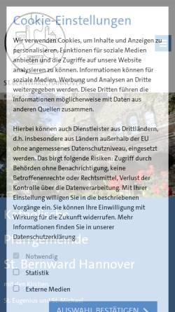 Vorschau der mobilen Webseite www.st-bernward-hannover.de, Katholische Kirchengemeinde St.Bernward