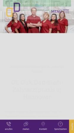 Vorschau der mobilen Webseite www.zahnarzt-dammann-hannover.de, Zahnarztpraxis Dr. Dirk Dammann