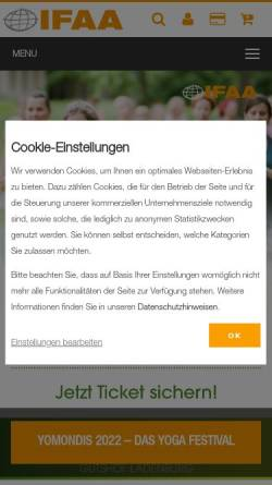 Vorschau der mobilen Webseite www.ifaa.de, Internationale Fitness und Aerobic Akademie [IFAA]