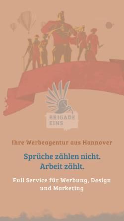 Vorschau der mobilen Webseite www.brigade-eins.de, Brigade Eins Werbeagentur
