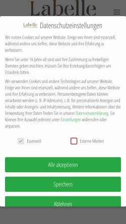 Vorschau der mobilen Webseite www.labelle-haarentfernung.de, Labelle cosmetics - Inh. Suzan Aksoy