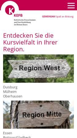 Vorschau der mobilen Webseite www.kefb-bistum-essen.de, Katholische Erwachsenen- und Familienbildung im Bistum Essen gGmbH