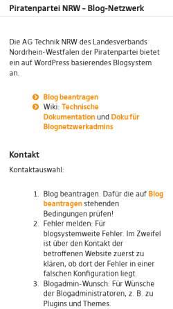 Vorschau der mobilen Webseite blog.piratenpartei-nrw.de, Piratenpartei, Landesverband Nordrhein-Westfalen